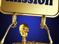 Skeleton Holding Mission Sign